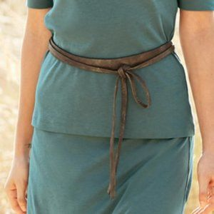 NWT Peruvian Connection ADA Bronze Leather Tie Bel